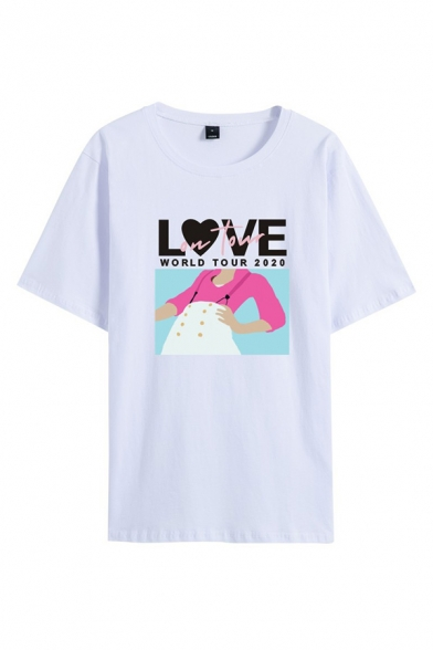 White Stylish Letter Love Cartoon Graphic Short Sleeve Crew Neck Loose Fit T-Shirt for Guys