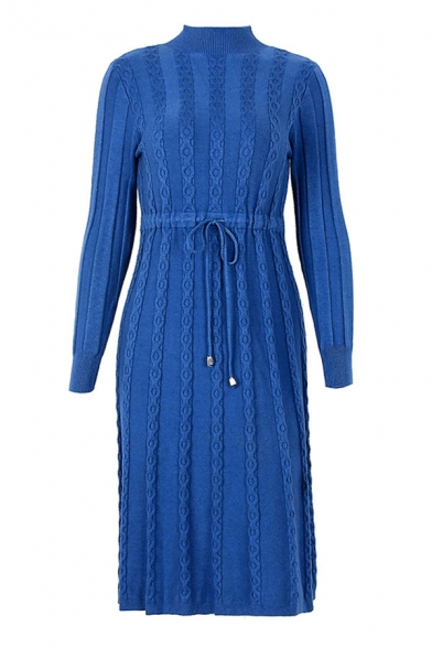 Womens Popular Plain Cable Knitted Long Sleeve Mock Neck Drawstring Waist Midi A-line Sweater Dress