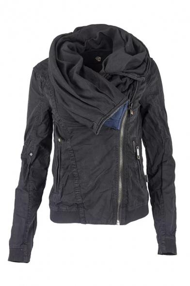 Unique Women's Long Sleeve Cowl Neck Hooded Stitching Pockets Side Asymmetric Plain Loose Jacket