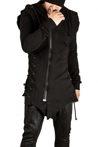 Mens Trendy Hooded Sweatshirt Plain Zipped Drawstring Lace up Asymmetrical Hem Slim Fitted Long Sleeve Hoodie
