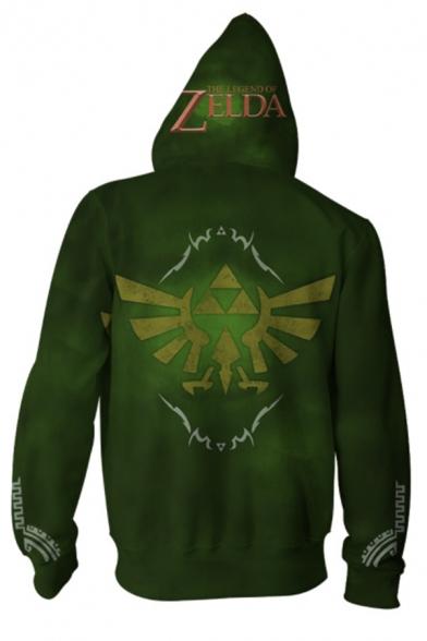 The Legend of Zelda 3D Printed Cosplay Costume Drawstring Hooded Long Sleeve Zip Up Hoodie
