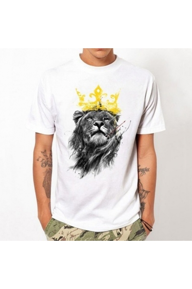 White Stylish Crown Lion Pattern Round Neck Short Sleeve Mens Casual T-Shirt