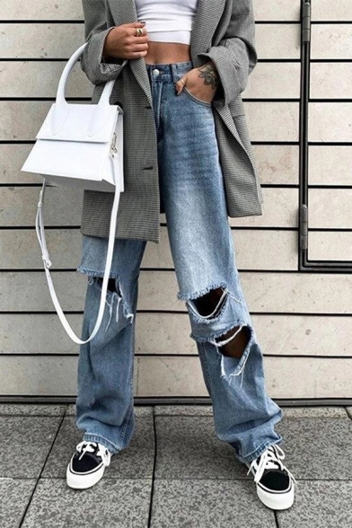 Womens Retro Distressed Pockets High Rise Zipper Fly Full Length Straight Jeans with Washing Effect
