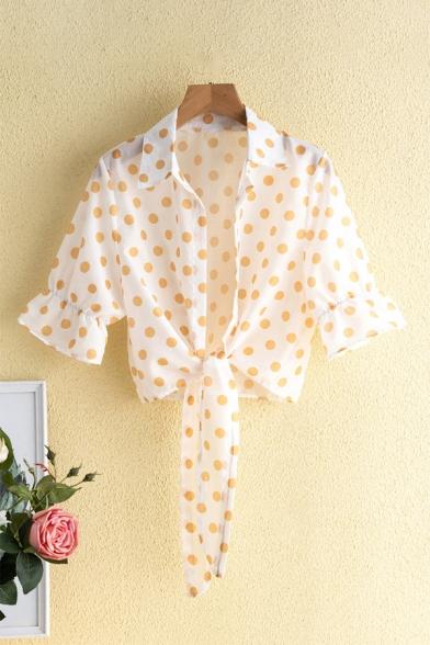 Summer Trendy Sweet Polka Dot Printed Long Sleeve Tied Hem Sun Protection Button Down Shirt