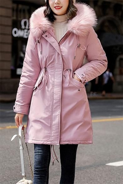 Trendy Ladies' Long Sleeve Hooded Button Front Zipper Detail Drawstring Fuzzy Trim Loose Plain Midi Parka Coat