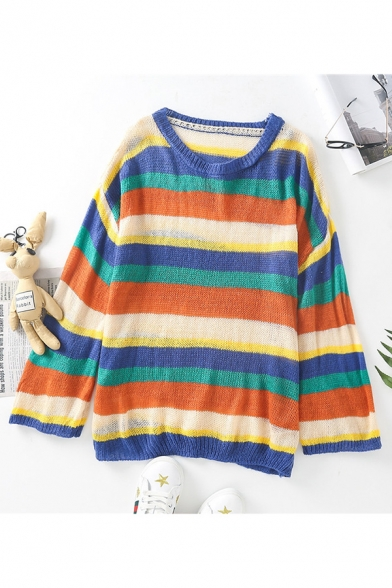 Vintage Sweater Striped Pattern Long Sleeve Round Neck Oversize Sweater for Women