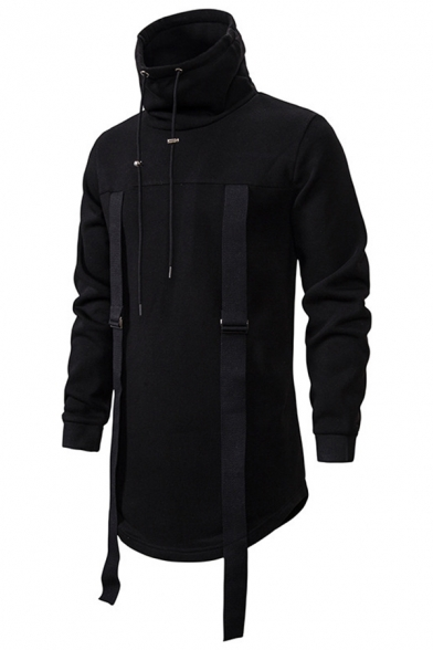 Mens Cool Coat Solid Colored Drawstring Long-sleeved High Collar Fitted Longline Pullover Coat
