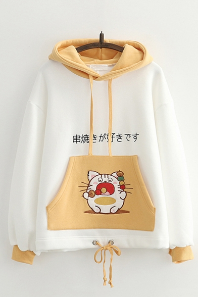 Chic Hoodie Cartoon Animal Japanese Letter Printed Drawstring Long Sleeve Regular Fitted Hooded Sweatshirt for Women, Pink;yellow, LC705799
