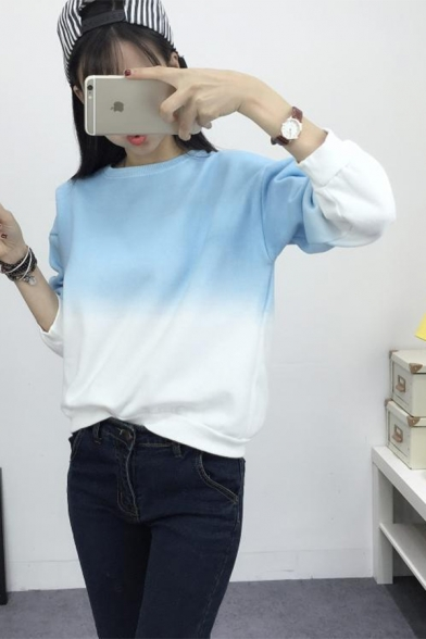 Chic Ombre Round Neck Long Sleeve Casual Sweatshirt