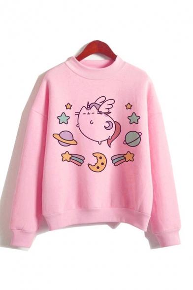 Preppy Stylish Pink Cute Cat Printed Mock Neck Long Sleeve Loose Fit Pullover Sweatshirt