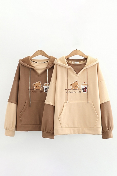Stylish Colorblock Bear Cup Letter Printed Pocket Long Sleeve Pullover Drawstring Regular Fitted Hoodie for Women