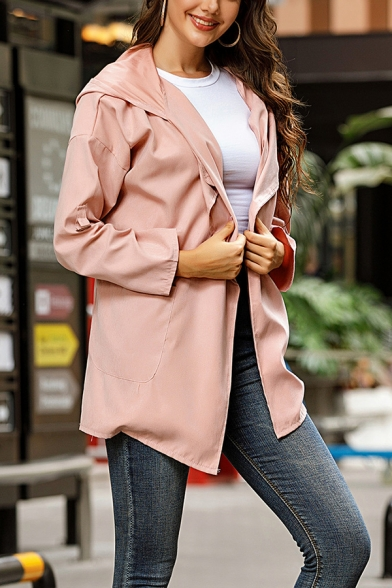 Basic Trench Plain Lapel Open Front Long Sleeve Relaxed Fit Hooded Trench Coat for Women