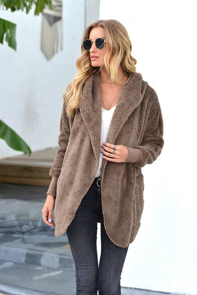 Trendy Womens Solid Colored Open Front Sherpa Liner Long Sleeve Fitted Hooded Coat