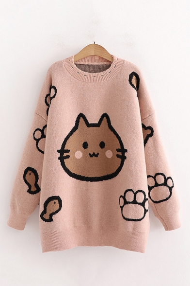 Vintage Lady's Sweater Cat Footprint Fish Pattern Long Sleeve Round Neck Oversize Sweater, Blue;pink;purple;yellow;khaki, LC705819