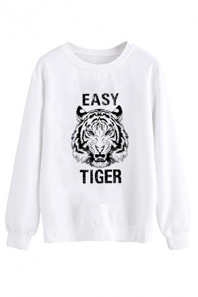 Womens Creative Sweatshirt Letter Easy Tiger Print Regular Fitted Long Sleeve Pullover Sweatshirt