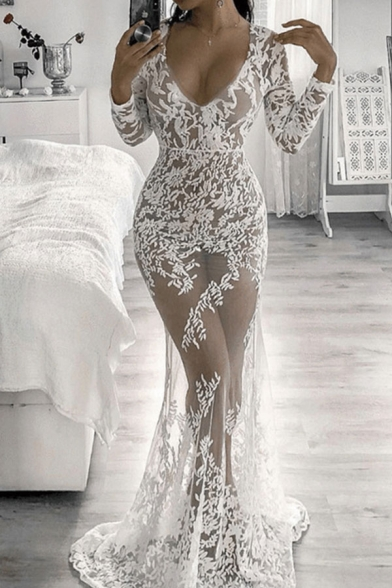 Elegant Lace Panel Plunge Neck Long Sleeves Zip-Back Floral Bodycon Maxi Dress