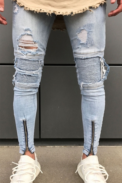 Men's Trendy Fashion Knee Cut Zip-Embellished Cuffs Light Blue Ripped Skinny Jeans