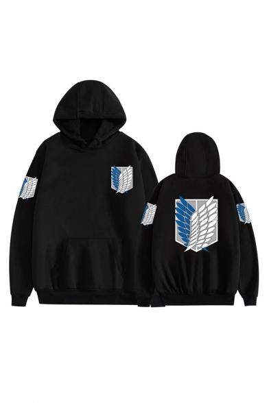 Mens Casual Hoodie Wing Printed Pocket Drawstring Relaxed Fitted Long Sleeve Hooded Sweatshirt