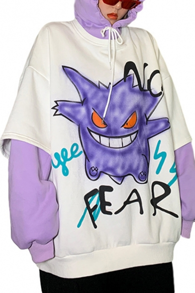 Trendy Sweatshirt Monster Letter No Fear Printed Faux Twinset Loose Fitted Long Sleeve Graphic Hoodie for Women