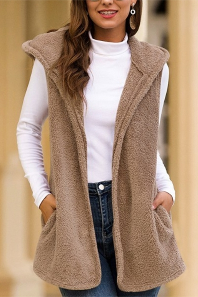 Casual Plain Sleeveless Hooded Sherpa Fleece Relaxed Fit Open Front Vest for Women