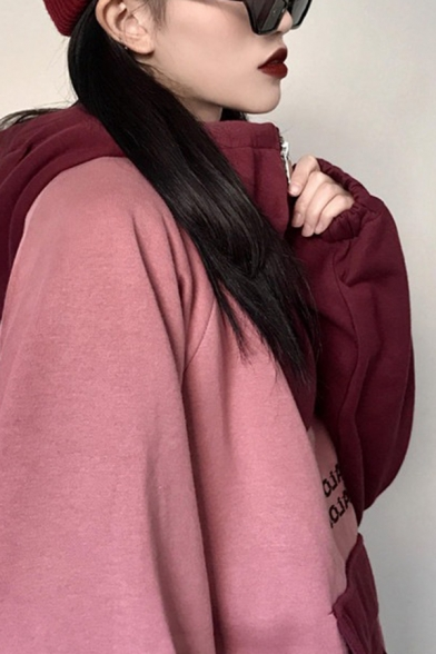 Chic Colorblock Butterfly Letter Printed 1/4 Zip Pocket Long Sleeve Pullover Relaxed Fitted Hooded Sweatshirt for Girls