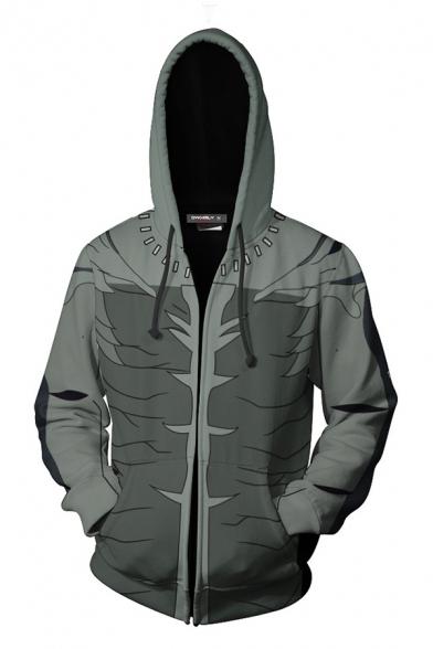 Mens Cool Hoodie 3D Abstract Pattern Zipped Drawstring Regular Fitted Long Sleeve Hooded Sweatshirt