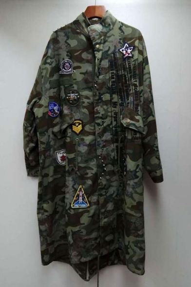 New Fashion Badge Patchwork Stand-Up Collar Long Sleeve Longline Camouflage Coat