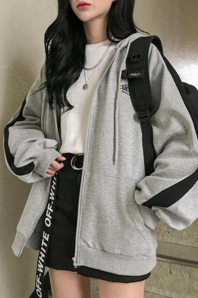 Womens Vintage Hoodie Logo Printed Tape Drawstring Zip up Relaxed Fitted Long Sleeve Hoodie