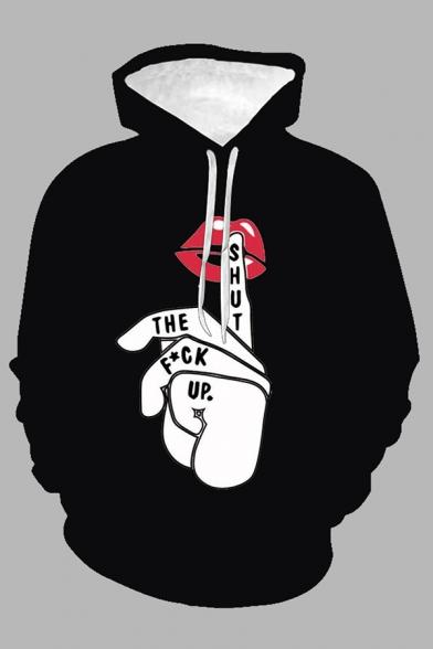 Cool Mens 3D Hooded Sweatshirt Hand Lips Letter Shut up Pattern Long Sleeve Drawstring Fitted Hooded Sweatshirt in Black