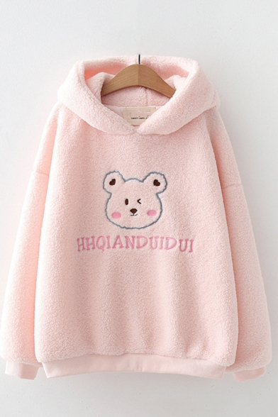 Cute Womens Hoodie Bear Letter Hhqianduidui Print Sherpa Liner Loose Fitted Long Sleeve Hoodie, Blue;pink, LC705952
