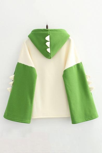 Chic Sweatshirt Cartoon Dinosaur Japanese Letter Printed Fitted Long Sleeve Graphic Hooded Sweatshirt for Women