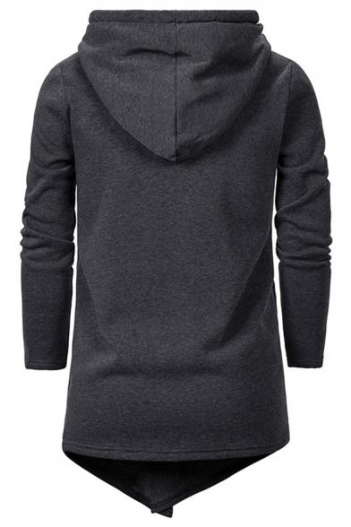 Chic Hoodie Plain Drawstring Asymmetrical Hem Zip Pocket Regular Fitted Long Sleeve Hoodie for Men