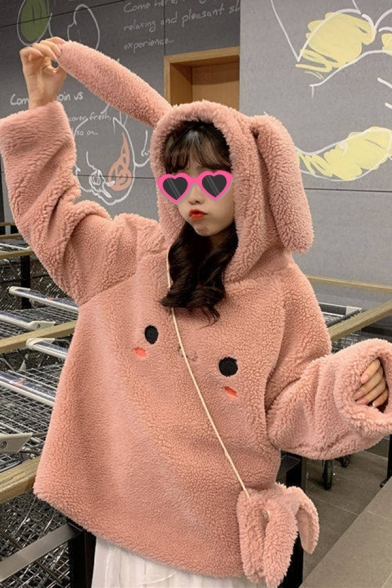 Popular Ladys Cartoon Rabbit Face Pattern Long Sleeve Pullover Woolen Relax Hooded Sweatshirt with Rabbit Ears