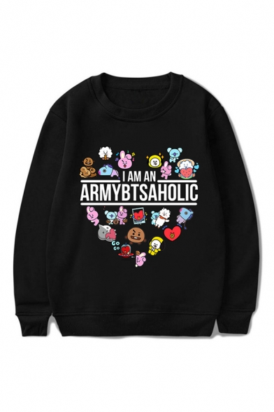 Unique Cartoon Heart Letter Pattern Long Sleeve Round Neck Pullover Regular Fitted Hoodie for Women