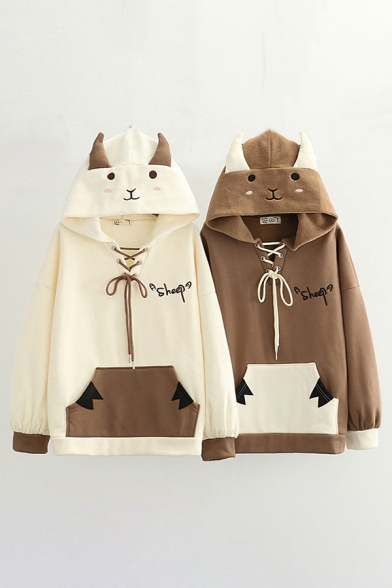 Chic Hoodie Color Block Letter Sheep Printed Lace up Ears Embellishment Fitted Long Sleeve Hoodie for Women