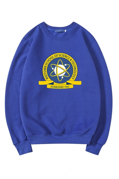 Letter Circle Printed Crew Neck Long Sleeve Pullover Sweatshirt