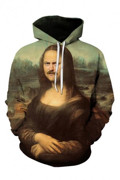 Popular 3D Hooded Sweatshirt Figure Pattern Pocket Drawstring Long Sleeve Regular Fitted Hoodie for Men