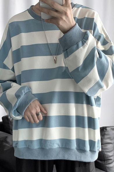 Leisure Stripe Printed Long Sleeve Crew Neck Loose Fit Tee Top for Guys