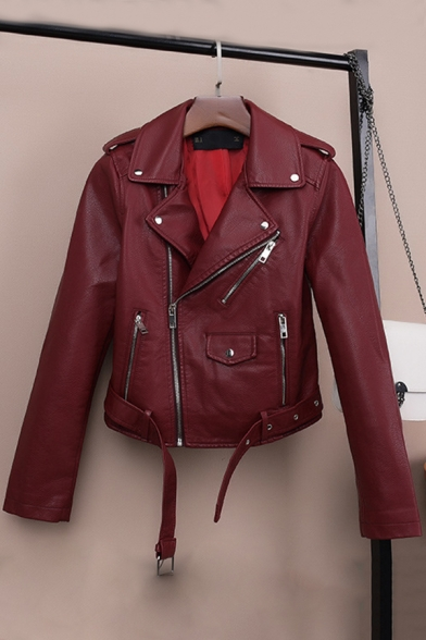 Unique Ruffle Embellished Shoulder Notched Lapel Collar Long Sleeve Belt Zip Up PU Biker Jacket