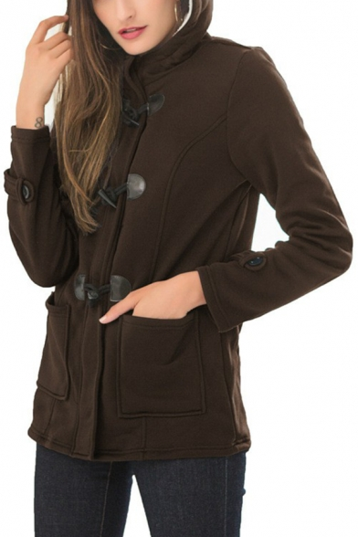Cool Womens Jacket Toggle Button Detail Thick Mid-Length Zipper up Slim Fitted Long Sleeve Hooded Padded Jacket