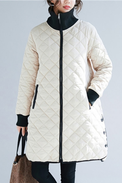 Fancy Women's Down Coat Quilted Solid Color Contrast Trim Button Detail Pockets Stand Collar Long Sleeves Fitted Coat