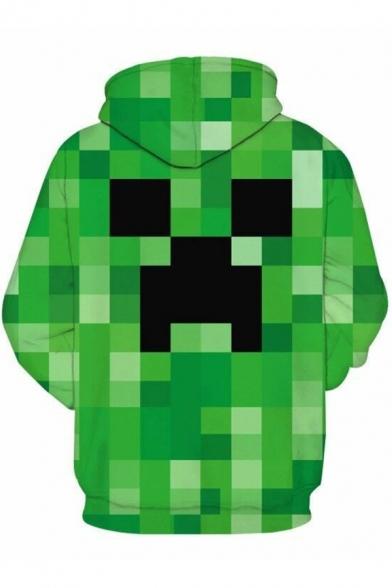 Mens Hoodie Creative 3D Minecraft Green Mosaic Pattern Drawstring Kangaroo Pocket Regular Fitted Long Sleeve Hoodie