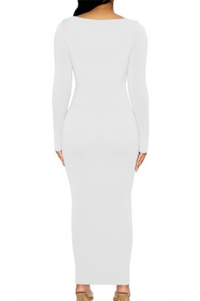 Womens Sexy Plain Long Sleeve Deep V-Neck Maxi Bodycon Dress for Party