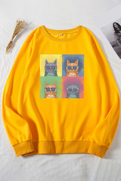 Cool Womens Sweatshirt Cat Glasses Pattern Loose Fit Long Sleeve Crew Neck Pullover Sweatshirt