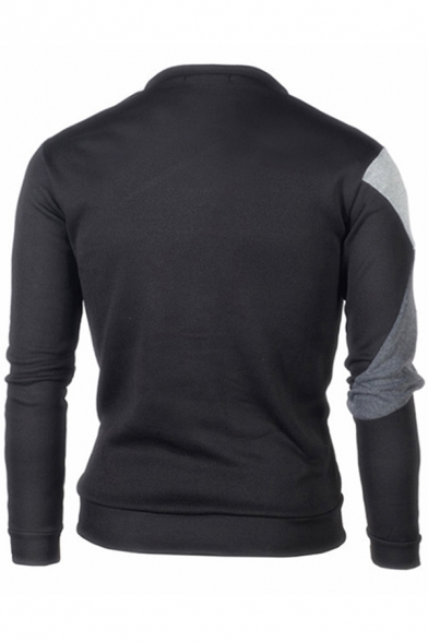 Mens Pullover Sweatshirt Fashionable Color Block Stitching Round Neck Long Sleeve Slim Fitted Pullover Sweatshirt