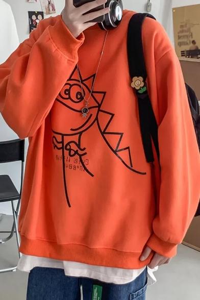Basic Mens Sweatshirt Cartoon Monster Letter Print Round Neck Drop Shoulder Long Sleeve Loose Fit Pullover Sweatshirt