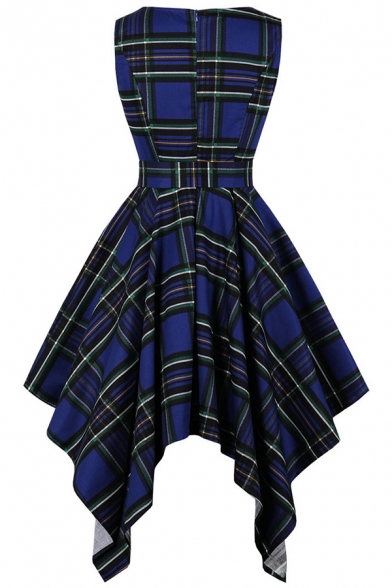 Creative Womens Dress Abstract Line Plaid Print Bow-Tie Waist Asymmetric Hem Crew Neck Sleeveless A-Line Slim Fitted Midi Swing Dress