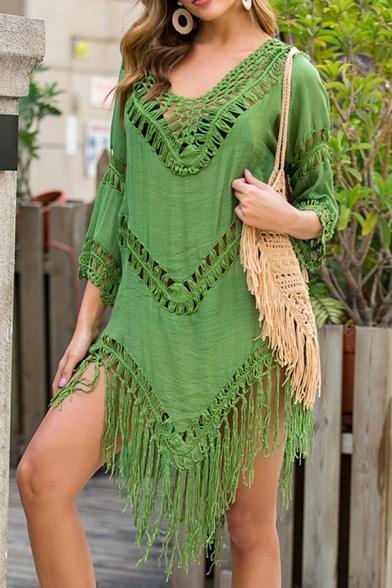 Girls Boho Style Asymmetrical Dress Plain Crochet Tassel Hollowed Backless Half-Sleeve V Neck Short Dress