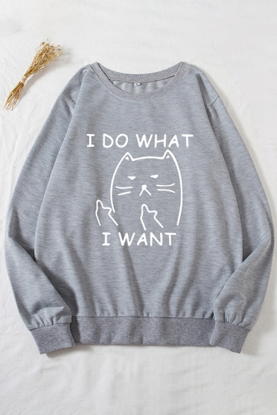 Cute Womens Sweatshirt Cat Letter I Do What I Want Print Loose Fit Long Sleeve Crew Neck Pullover Sweatshirt