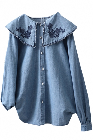 Tribal Style Women's Blouse Flower Embroidery Button-down Ruffled Collar Long-sleeved Regular Fit Linen and Denim Blouse